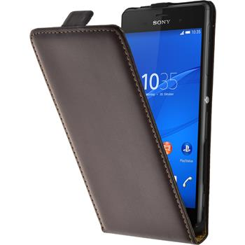 Artificial Leather Case for Sony Xperia Z3 Flipcase brown
