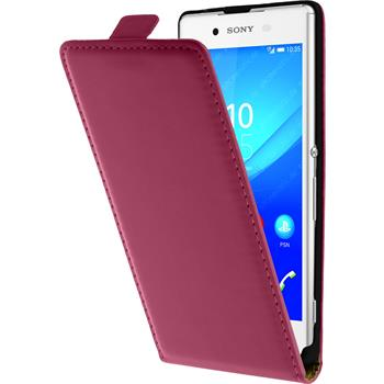 Artificial Leather Case for Sony Xperia Z3+ Flipcase hot pink