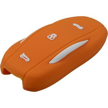 car key silicone case 3-button remote Tesla Model S orange