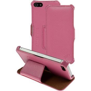 Echt-Lederhülle iPhone 5 / 5s / SE Leder-Case rosa + Glasfolie