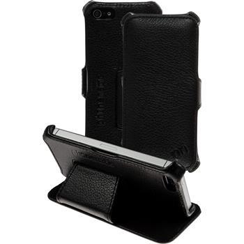 Echt-Lederhülle iPhone 5 / 5s / SE Leder-Case schwarz
