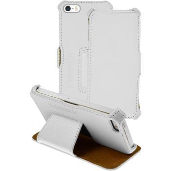 Echt-Lederhülle für Apple iPhone 5 / 5s / SE Leder-Case weiß + Glasfolie