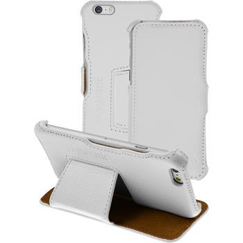 Echt-Lederhülle für Apple iPhone 6s / 6 Leder-Case weiß + Glasfolie