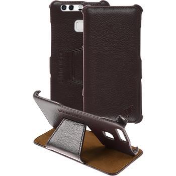 Echt-Lederhülle für Huawei P9 Leder-Case braun + Glasfolie