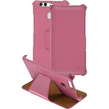 Echt-Lederhülle für Huawei P9 Leder-Case rosa + Glasfolie