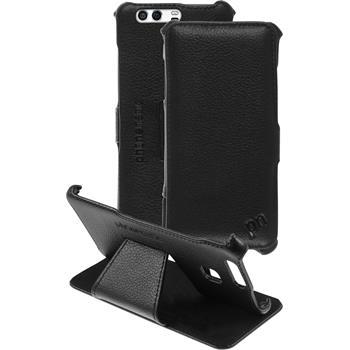 Echt-Lederhülle für Huawei P9 Leder-Case schwarz + Glasfolie