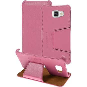 Echt-Lederhülle für Samsung Galaxy A5 (2016) A510 Leder-Case rosa + Glasfolie