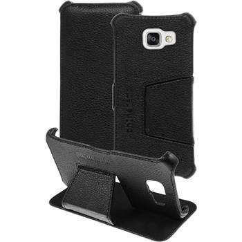 Echt-Lederhülle für Samsung Galaxy A5 (2016) A510 Leder-Case schwarz + Glasfolie