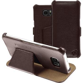 Echt-Lederhülle Galaxy S6 Edge Leder-Case braun + flexible Folie