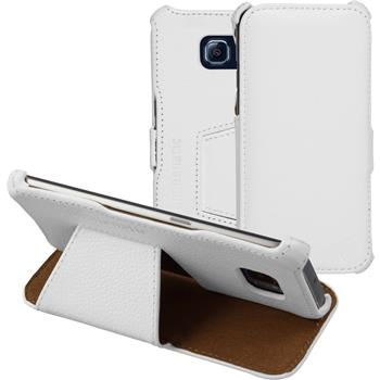 Echt-Lederhülle Galaxy S6 Edge Leder-Case weiß + flexible Folie