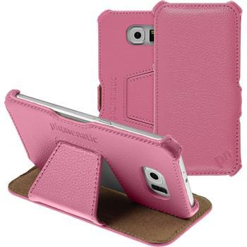 Echt-Lederhülle Galaxy S6 Leder-Case rosa + Glasfolie