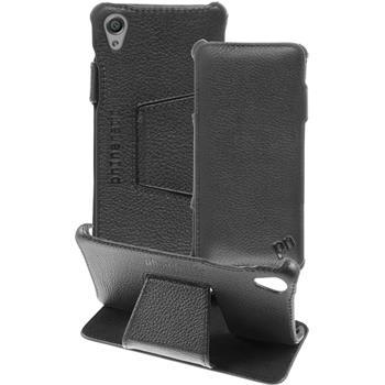 Echt-Lederhülle Xperia X Leder-Case schwarz