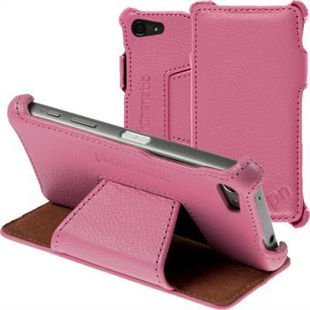 Echt-Lederhülle für Sony Xperia Z5 Compact Leder-Case rosa + Glasfolie