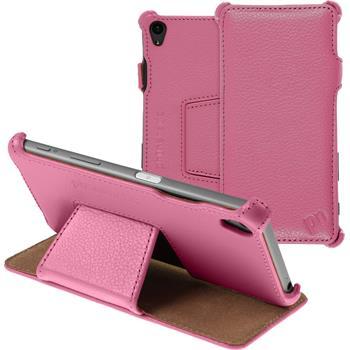 Echt-Lederhülle Xperia Z5 Leder-Case rosa + Glasfolie