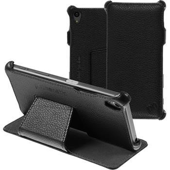 Echt-Lederhülle Xperia Z5 Leder-Case schwarz + Glasfolie