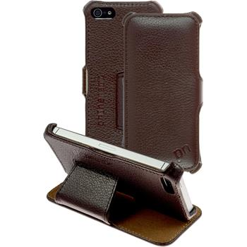 genuine Leather Case for Apple iPhone 5 / 5s / SE Leather-Case brown + protective foils