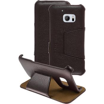 genuine Leather Case for HTC 10 Leather-Case brown + glass film
