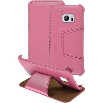 genuine Leather Case for HTC 10 Leather-Case pink + glass film