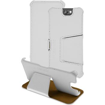 genuine Leather Case for HTC One A9 Leather-Case white + glass film