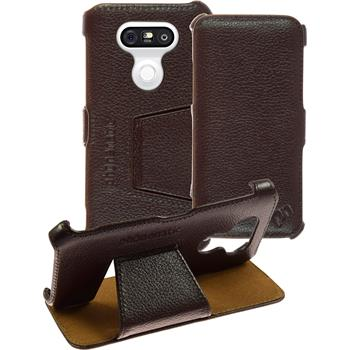 genuine Leather Case for LG G5 Leather-Case brown + glass film