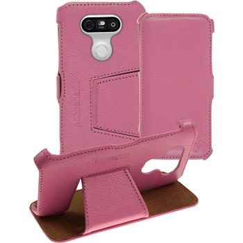 genuine Leather Case for LG G5 Leather-Case pink + glass film