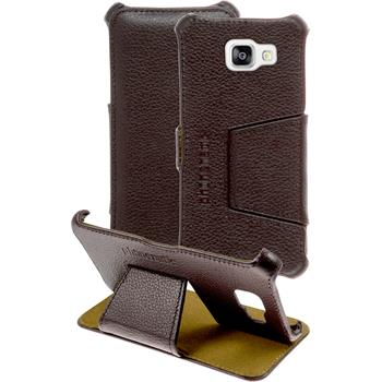 genuine Leather Case for Samsung Galaxy A5 (2016) A510 Leather-Case brown + glass film