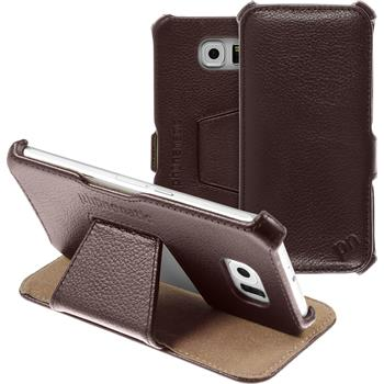 genuine Leather Case for Samsung Galaxy S6  brown