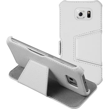 genuine Leather Case for Samsung Galaxy S6 Leather-Case white + glass film