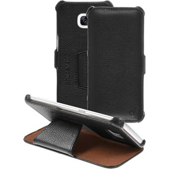 genuine Leather Case for Samsung Galaxy S7 Edge Leather-Case black + glass film