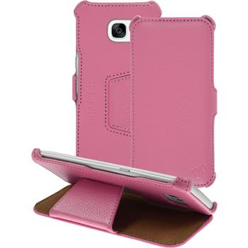 genuine Leather Case for Samsung Galaxy S7 Edge Leather-Case pink + glass film