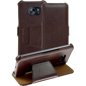genuine Leather Case for Samsung Galaxy S7 Leather-Case brown + glass film