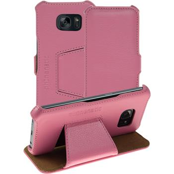 genuine Leather Case for Samsung Galaxy S7 Leather-Case pink + glass film