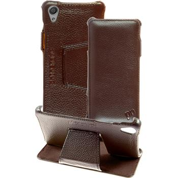 genuine Leather Case for Sony Xperia X Leather-Case brown + glass film