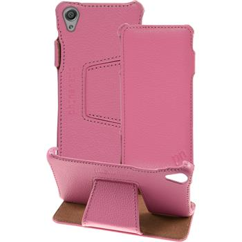 genuine Leather Case for Sony Xperia X Leather-Case pink + glass film