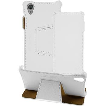 genuine Leather Case for Sony Xperia X Leather-Case white + glass film