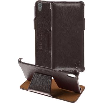 genuine Leather Case for Sony Xperia XA Leather-Case brown + glass film