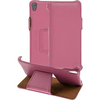 genuine Leather Case for Sony Xperia XA Leather-Case pink + glass film