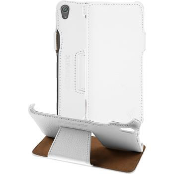 genuine Leather Case for Sony Xperia XA Leather-Case white + glass film