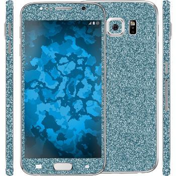 1 x Glitzer-Folienset für Samsung Galaxy S6 blau