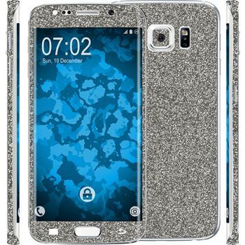 1 x Glitzer-Folienset für Samsung Galaxy S6 Edge grau