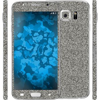 2 x Glitzer-Folienset für Samsung Galaxy S6 grau