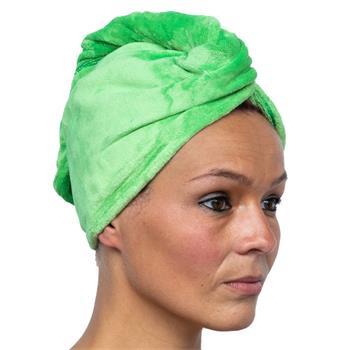 Cosey - 1x Mikrofaser Turban-Handtuch - Flauschiges Kopf-Handtuch 350 g/m², in grün