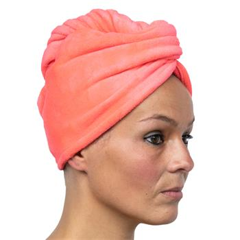 Cosey -1x Mikrofaser Turban-Handtuch - Flauschiges Kopf-Handtuch 350 g/m², in rot