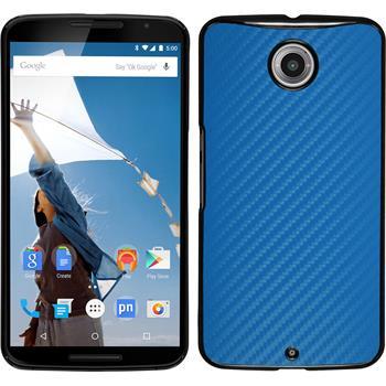 Hardcase for Google Motorola Nexus 6 carbon optics blue