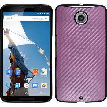Hardcase for Google Motorola Nexus 6 carbon optics hot pink