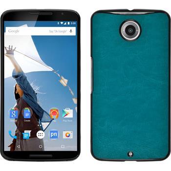Hardcase for Google Motorola Nexus 6 leather optics turquoise