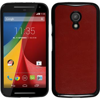 Hardcase for Motorola Moto G 2014 2. Generation leather optics red