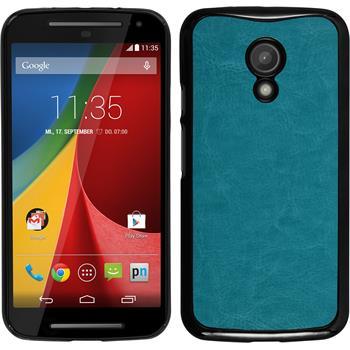 Hardcase for Motorola Moto G 2014 2. Generation leather optics turquoise