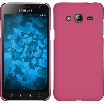 Hardcase for Samsung Galaxy J3 rubberized hot pink