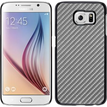 Hardcase for Samsung Galaxy S6 carbon optics silver